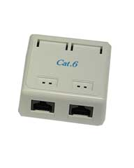 Cat 6 Surface Jack (Dual) white only